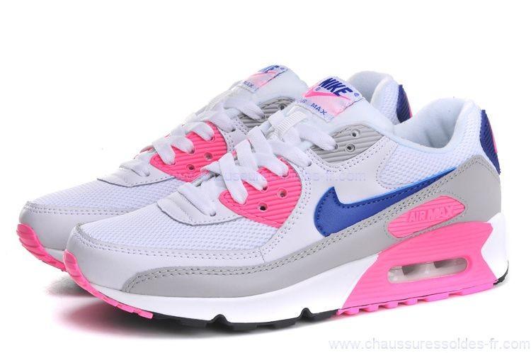 air max blanche bleu et rose