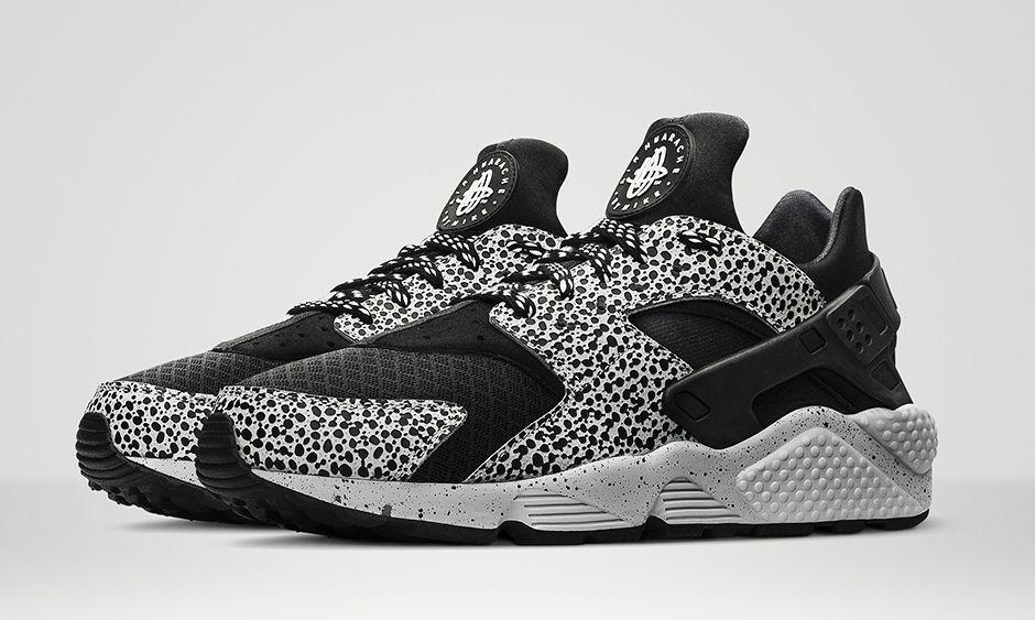half off 24094 b1ce8 nike air huarache safari chaussures femme noir gris platine