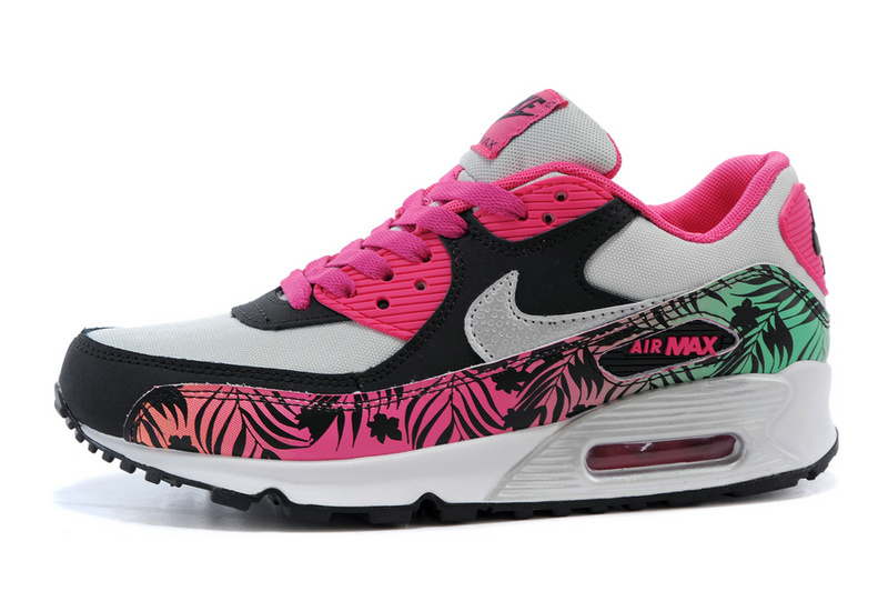 nike air max 90 pour fille, Nike Air Max 90 Print Black Hot Pink Metallic Silver 704953 001 Women's Running Shoes Fashion Trainers
