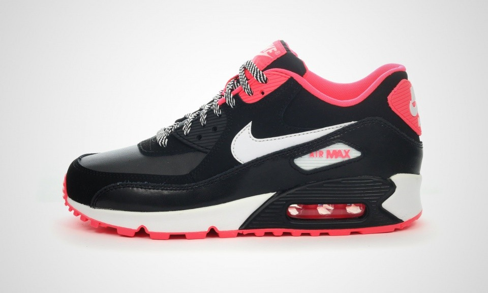 nike air max 90 youth gs chaussures pas cher, Nike Air Max 90 2007 GS Chaussures De Ville Blanche/Noir/Hyper Poinçon 345017