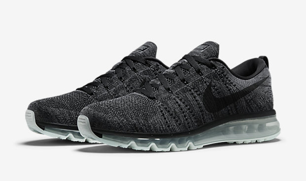 nike flyknit air max noir gris, nike-flyknit-air-max-black-dark-grey-620469-