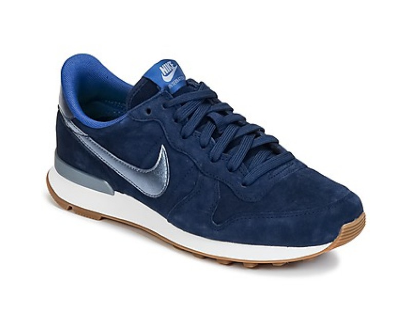 nike internationalist bleu argent, Femme Plus Grand Cuir Nike INTERNATIONALIST PREMIUM SUEDE W Bleu / Argent Baskets mode